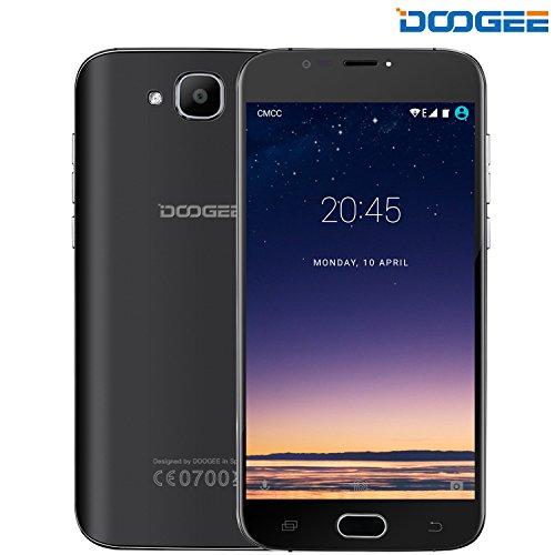 Smartphone ohne Vertrag, DOOGEE X9 MINI 3G Android 6.0 Dual Sim Günstig Handy, 2.5D Ultra Slim 5 Zoll HD MT6580 Quad Core Smartphones, 8GB ROM+5MP Kamera mit Flash Handys, Fingerabdrucksensor-Schwarz