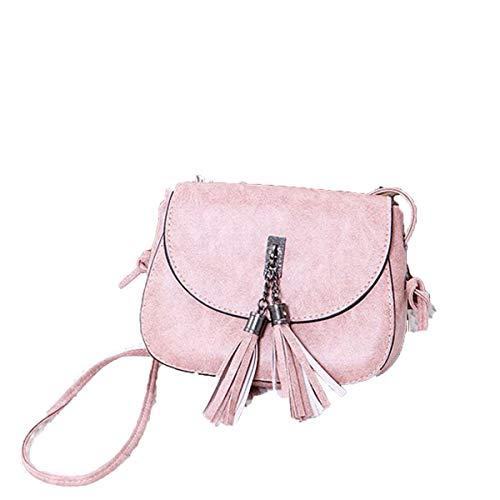 Bravoy Frauen kleine PU Leder Handtasche Mädchen Quaste Umhängetasche Geldbörse Portemonnaie für alle Telefone Kosmetiktasche (Rosa)