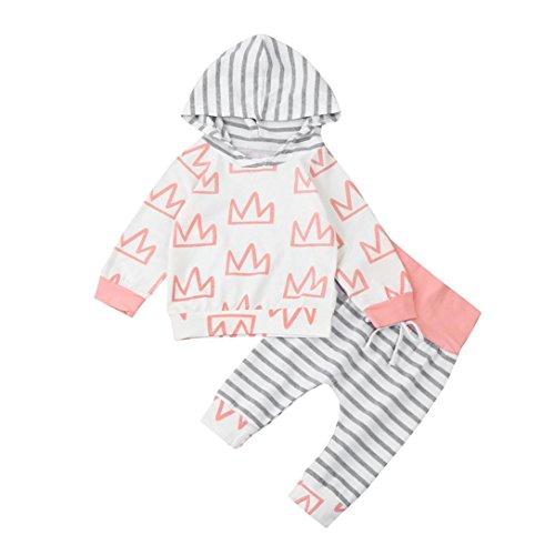 Tanz Kostüm Schlafanzug (Hirolan Kleinkind Säugling Baby Mädchen Jungen Krone Drucken Kleider Set Mit Kapuze Tops + Hosen Outfits Stilvoll Kapuzenpullover (80cm,)