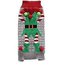 POPETPOP Traje de Navidad para Perro Perro Mascota Traje de suéter de Duende de Santa Navidad Traje de Perro Mascota - tamaño S