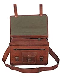 16 Inches Vintage Leather Messenger Bag Briefcase Laptop Bag