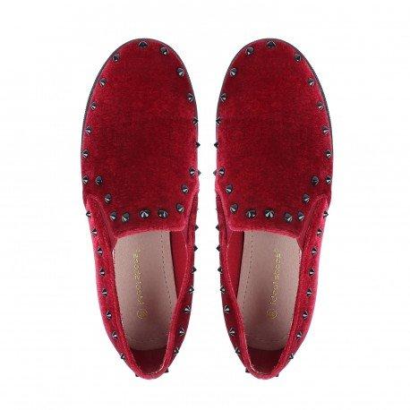 Ideal Shoes Slippers Effet Daim Incrustés de Clous Nathy Marine