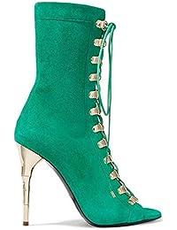 DONNA Peep Toe Sandals Pecora Stivali in pelle Scarpe Lace-Up Charme Martin  Boot Estate aff83f0e2d3