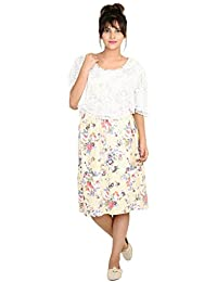 6ea8b019a4 9teenagain Floral Printed Nursing Dress With Lace Fabric Cape Style Crop Top