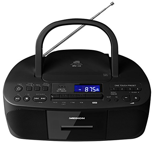 MEDION E64070 MD 43089 Stereoradio inklusive CD-Rekorder, Kassette, Tape, USB-Port, Aux-In, MP3-Wiedergabe, UKW PLL Radio, LCD, schwarz