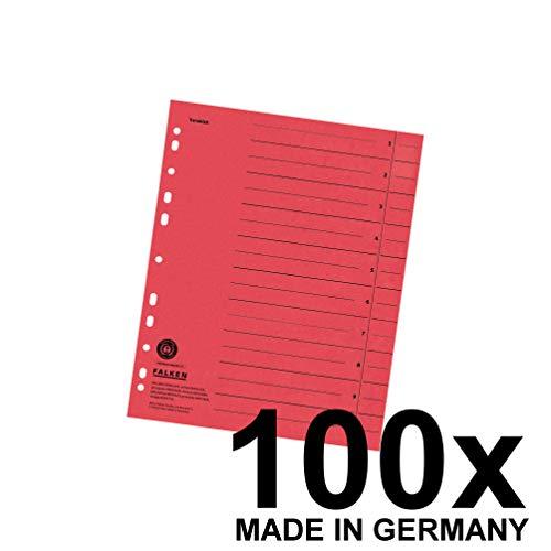 falken trennblaetter Falken Trennblätter aus Recycling-Karton für DIN A4 100er Pack rot Trennlaschen Trennblätter Ordner Register Kalender Blauer Engel