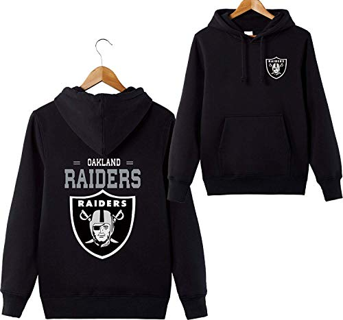 ZXTXGG Männer 3D Hoodies Oakland Raiders NFL Football Team Uniform Muster Digitaldruck Liebhaber Kapuzenpullis(XXXXL,Schwarz) (Oakland Raiders Uniformen)