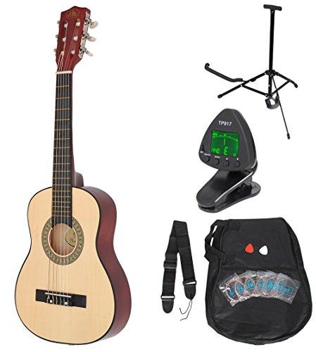 1/4 Kinder Akustik Klassik Gitarre Natur Braun Konzertgitarre ca. 4-7 Jahre als Set mit Stimmgerät, Gitarrenständer undErsatzsaiten