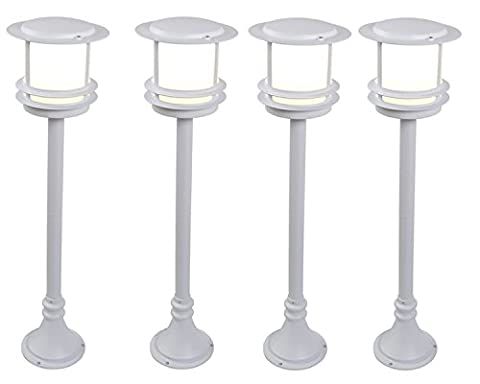 Blooma Tauri 93cm/3ft Outdoor Post Light Four Pack, Large White Aluminium Garden Patio Lamps, Energy Saving Art Deco Pole Lanterns, Exterior Mood Lighting IP44 230V Mains Operated Outside Fixtures