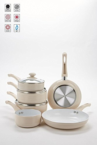 6Mokka Gerippter Keramik Antihaft-Pfanne Set - Pfanne, Gerippte