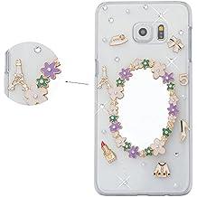 Spritech (TM) Crystal elegante flor espejo Decor Funda Transparente, diseño de Bling Rhinestone Funda rígida, Color-9, Samsung Galaxy S6 Edge Plus