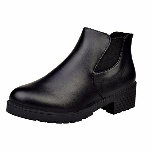 Stivaletti-Donna-2017-Vovotrade-Martin-Boots-Donne-Scarpe-basse-in-pelle-tacco-Chelsea-39-Nero