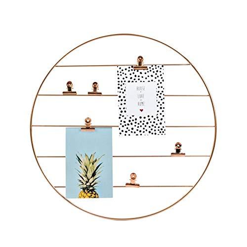 Dresz Rundes Metall Draht Wandgitter, Hängender Fotorahmen, Wanddekoration Organizer, Gitter Panel, Einschließlich 2 Trendy Karten und 6 Clips, Rosa, Rose Gold, 40 cm