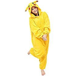 Yimidear® Unisex Cálido Pijamas para Adultos Cosplay Animales de Vestuario Ropa de dormir Halloween y Navidad(XL, Pikachu)