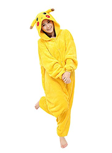 Kostüm Pikachu Trägt Ein - Yimidear Unisex Adult Pyjamas Cosplay Tier Onesie Nachtwäsche Nachtwäsche, Gelb, XL