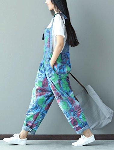 Vogstyle Donna Nuovo Stampato Denim Romper Tuta Salopette Pantaloni Stile 4