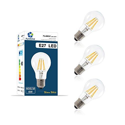 Ampoule Filament LED E27, 6W Équivalent à 60W Ampoules à Incandescence, 2700k Blanc Chaud, 600 Lumens, Culot E27, Ampoule Rétro, Ampoule Vintage, Écologiste et Économiser l'énergie, Pack de 3 unités