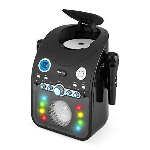 auna StarMaker • Karaoke • Equipo de Karaoke para niños • Reproductor de CD • Bluetooth • Puerto USB • AUX • Efecto LED 2X micrófonos • Negro