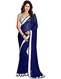 Sanskriti Designers Women's Georgette Solid Saree With Blouse Piece (navy Blue Saree_Free Size)