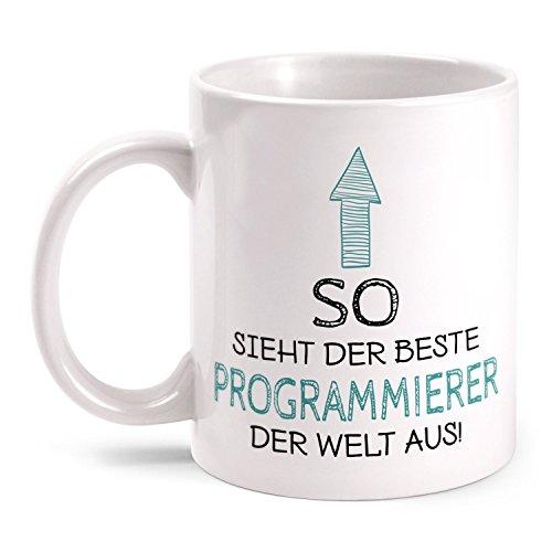 Fashionalarm Tasse So sieht der beste Programmierer der Welt aus beidseitig bedruckt mit Spruch | Geschenk Idee Software Entwickler Arbeit Büro, Farbe:weiß Idee Software