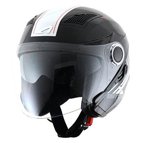Astone Helmets fibra Casco Jet, Espada, color Espada Negro Blanco, talla M