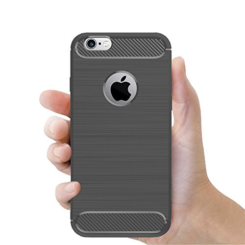 betterfon | Carbon TPU Silikon Handy Tasche Hybrid Case Schutz Hülle Panzer Cover Bumper für Apple iPhone 7 Plus Rot Grau