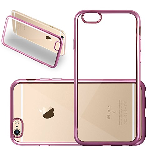 Cadorabo – TPU Ultra Slim Chrome Silikon Hülle Case Cover Schutz-Hülle für >          Apple iPhone 6 / 6S          < in TRANSPARENT mit CHROM-SILBER CHROM-PINK
