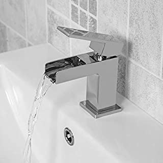 Modern Cloakroom Bathroom Mini Waterfall Basin Sink Mixer Tap Mono Single Lever Square Chrome