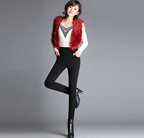 YiLianDa Femme Pantalon Casual Sexy Slim Jeggings Taille Hautes Stretch Leggings Velours Fleece Thermique Hiver Chaud Noir