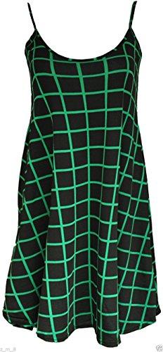 Damen Lang Cami Cami Uni Strappy Swing Kleid Weste Top Flared ärmellos Jade Green Grid Squares