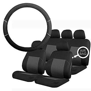 UKB4C Grey & Black Steering Wheel & Seat Cover set for Hyundai Amica 00-09