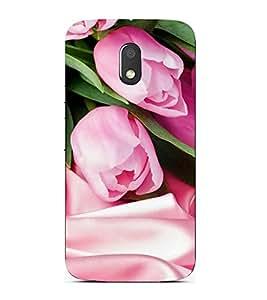 FUSON Tulips Flowers Satin Background 3D Hard Polycarbonate Designer Back Case Cover for Motorola Moto E3 :: Motorola Moto E (3rd Gen)