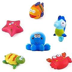 Idea Regalo - Giocattoli da bagno Galleggianti da bagno per pesci, stelle marine, cavallucci marini (6PCS), giocattoli da bagno morbido, giochi da bagno con creature marine, il bagno Giocattoli per bambini piccoli