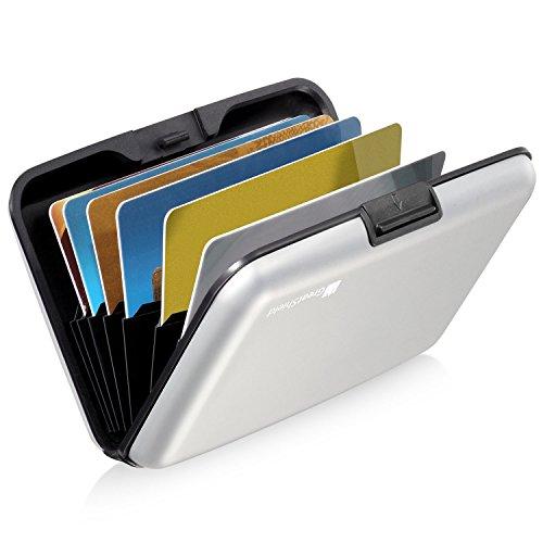 GreatShield RFID NFC Blocker Cardguard[Aluminium] Kreditkarten/Visitenkarten/Ausweis EC/Bank-Karte[Halter|Hülle|Etui|Brieftasche|Kartenbörse|Wallet|Card Holder|Case][8 Karten] Damen/Herren -Silber -