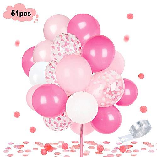 MMTX 51 Stück Rosa Luftballon Dekorationen für Mädchen gehören rosa, weiße, Rosa Pinke Latexballons, Konfetti-Ballons und 1 Rolle Ballonband zum Geburtstag Hochzeit Party Babydusche,Valentinstag (Dekoration Für Die Taufe)
