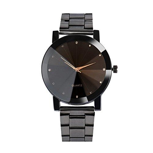 FEITONG Herrenuhr Analoge Armbanduhr Quarzuhr Elegant Edelstahl Herren Uhr Schwarz NEU (Schwarz-1)