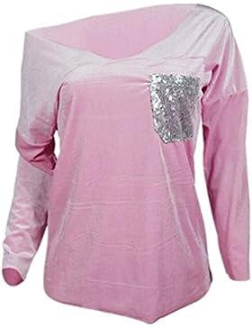 Aivosen Moda Blusa Mujeres Manga Larga De Cuello En V Patchwork Lentejuelas Bolsillo Camiseta Moda Color Sólido...