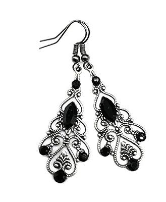 Boucles d'oreilles chandelier Argent vieilli avec Cristal de Swarovski Noir