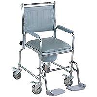NRS Healthcare M66119 - Silla sanitaria con ruedas, asiento acolchado y respaldo, altura ajustable