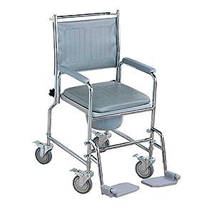 NRS Healthcare M66119 – Silla sanitaria con ruedas, asiento acolchado y respaldo, altura ajustable