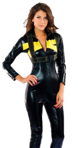 erdbeerloft - Damen Karneval Kostüm- Lack Renn Overall Formel 1 Sportkostüm, schwarz gelb, 36-40