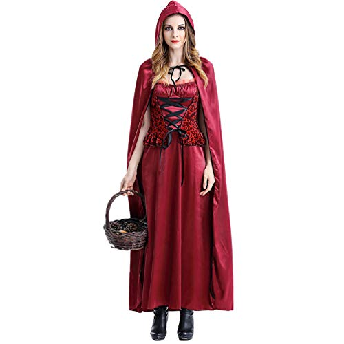 Devil Doll Kostüm - Halloween Kostüm Long Red Riding Hood Nachtclub Königin Kostüm Cosplay Kostüm Bühne Rock (XL)