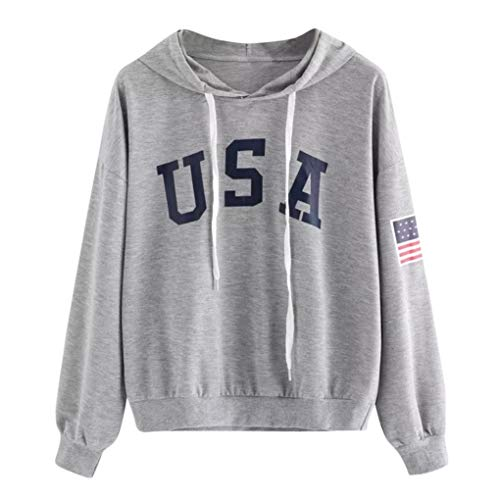 TWIFER Hoodie Brief Flagge Gedruckt Sweatshirt Langarm Pullover Tops Bluse Usa-sweatshirt