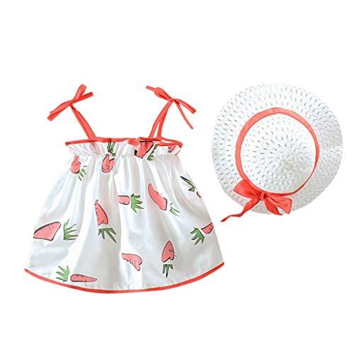 squarex Kleinkind Kind Baby Mädchen ärmellose Karotte gedruckt Prinzessin Kleid + Hut Set Kleidung niedlichen Komfort Freizeitkleidung - Komfort Ärmellos