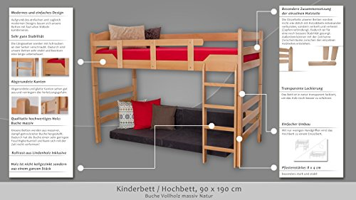 Kinderbett/Hochbett Easy Premium Line K14/n, Buche Vollholz massiv Natur – Maße: 90 x 190 cm