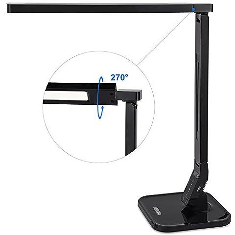 Ledgle LG-DL01 LED Lampe de Bureau Pliable Écran Tactile Lampes de Table (Lecture/Etude/Relaxation/Heure du Coucher), 5 Niveaux de luminosité,(4 Modes d'éclairage, Bras Flexible, 1 Heure de Minuterie Automatique, 5V / 1A USB Port) - Piano