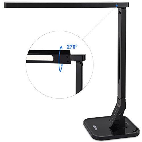 Lámpara de escritorio plegable LG-DL01 LED Ledgle Lámparas de mesa con control táctil (Estudio/Lectura/Relajación/hora de acostarse), 5 niveles de regulación (4 Modos de iluminación, Brazo flexible, Auto apagado de 1h, Puerto USB 5V/1A) –Negro Piano