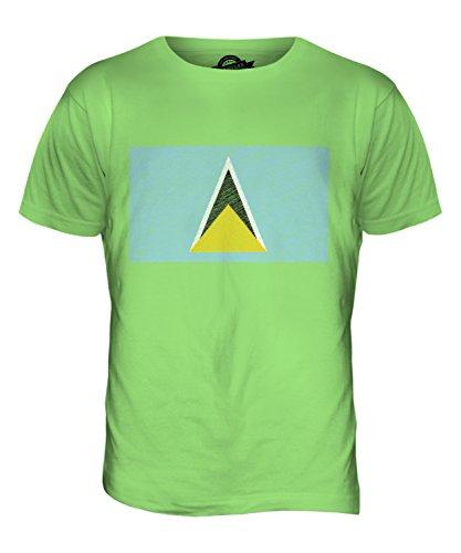 CandyMix St. Lucia Kritzelte Flagge Herren T Shirt Limettengrün