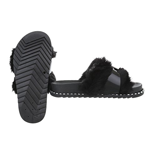 Pantoletten Damenschuhe Pantoletten Pantoletten Ital-Design Sandalen & Sandaletten Schwarz 838
