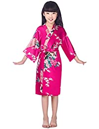 Surenow Enfant Robe de Chambre Kimono Satin Peignoir Pour Fille